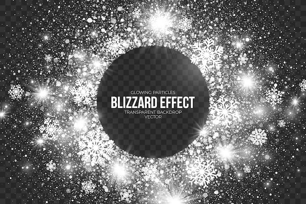 Transparent  snow blizzard effect background