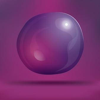 Transparent soap bubble on purple background.