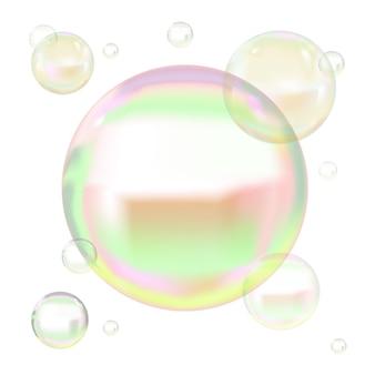 Прозрачные мыльные пузыри с отражением