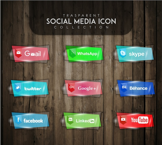 Transparent social media icon collection