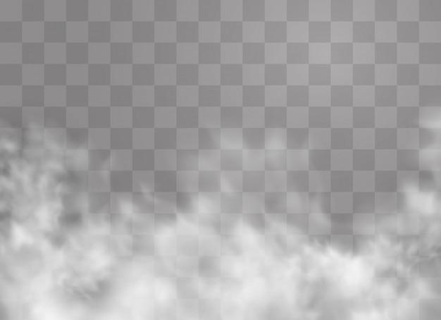 Прозрачный спецэффект выделяется туманом или дымом. белое облако, туман или смог.