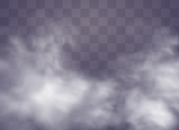 Transparent special effect stands out with fog or smoke. white cloud , fog or smog.  illustration. white gradient on a transparent background. rainy weather on a transparent background.