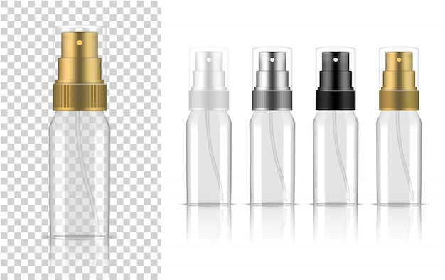 Transparent spray bottle  realistic cosmetic or lotion for skincare product