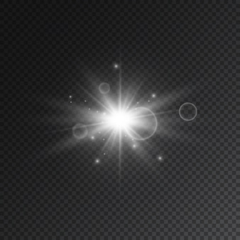 Transparent star flash with spotligh and lens.