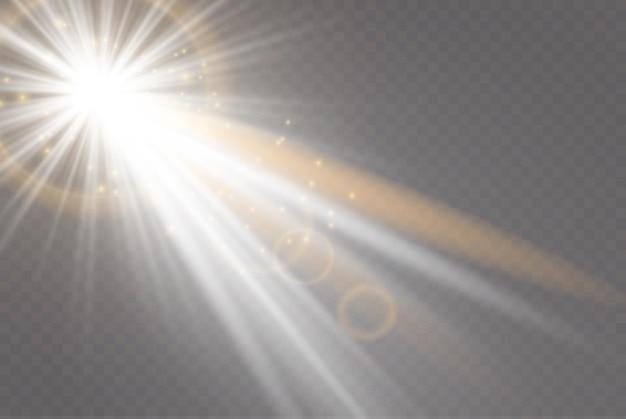투명한 햇빛 특수 렌즈 플레어 조명 효과. 골드 광선 및 광선으로 빛나는 조명 효과.
