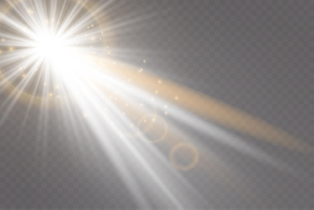 Transparent sunlight special lens flare light effect. glowing light effect with gold rays and beams.