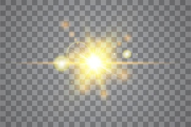 투명한 햇빛 특수 렌즈 플레어 조명 효과. 태양 플래시 광선 및 스포트라이트. 흰색 전면 반투명 햇빛 배경입니다. 추상 광선 섬광 장식 요소를 흐리게합니다. 스타 버스트.