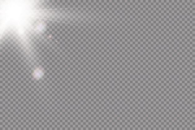 透明な日光特殊レンズフレアライト効果。太陽光線とスポットライト