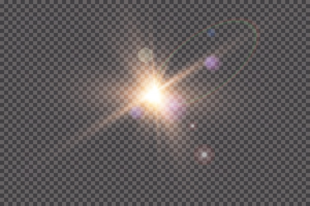 Прозрачный солнечный свет специальные линзы блики световой эффект. солнечная вспышка с лучами и прожектором