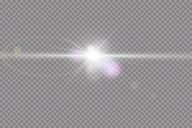 Прозрачный солнечный свет специальные линзы блики световой эффект. солнечная вспышка с лучами и прожектором.