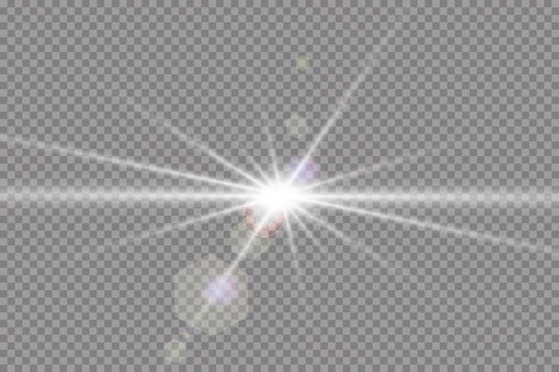 透明な日光特殊レンズフレアライト効果。光線とスポットライトで太陽が点滅します。