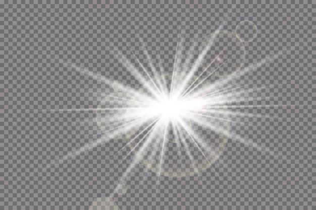 透明日光特殊レンズフレアライト効果。光線とスポットライトで太陽が点滅します。