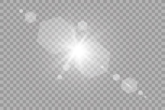 투명한 햇빛 특수 렌즈 플레어 조명 효과. 태양 광선과 스포트라이트로 플래시.