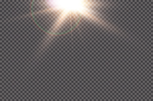 Transparent sunlight special lens flare light effect. sun flash with rays and spotlight