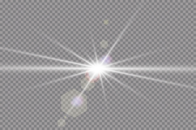 Transparent sunlight special lens flare light effect. sun flash with rays and spotlight.