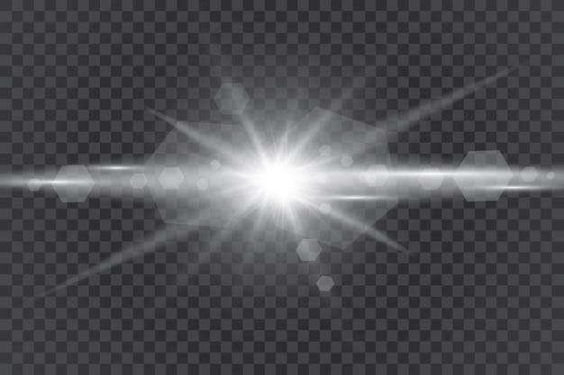 투명한 햇빛 특수 렌즈 플레어 조명 효과. 광선으로 태양 섬광