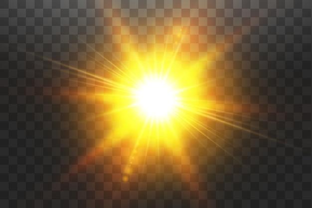 透明日光特殊レンズフレアライト効果。透明な背景に分離された太陽。グローライト効果。