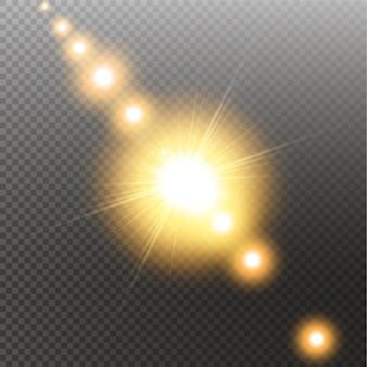 透明な日光特殊レンズフレアライト効果。透明な背景の太陽。グローライト効果。