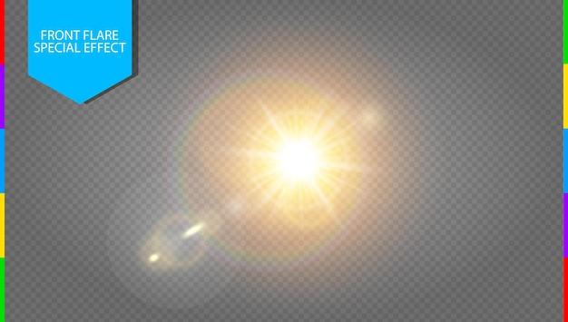 透明な日光特殊レンズフレアライト効果。光線とスポットライトで半透明の太陽が点滅します。