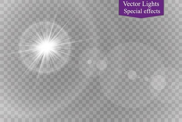 Transparent sunlight special lens flare light effect.