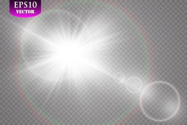 透明な日光特殊レンズフレアライト効果。