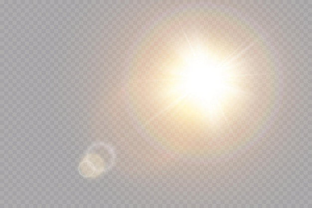 투명한 햇빛 특수 렌즈 플레어 조명 효과.