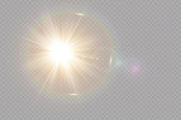 투명한 햇빛 특수 렌즈 플레어 조명 효과