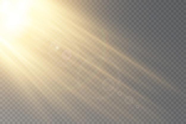 투명 햇빛 특수 렌즈 플레어 효과.