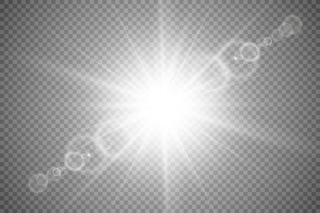 透明日光特殊レンズフレアライト効果。 Premiumベクター