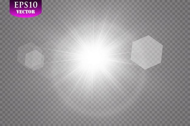 透明な日光。特殊なレンズフレア。太陽光線..日光。光のまぶしさ、光の効果