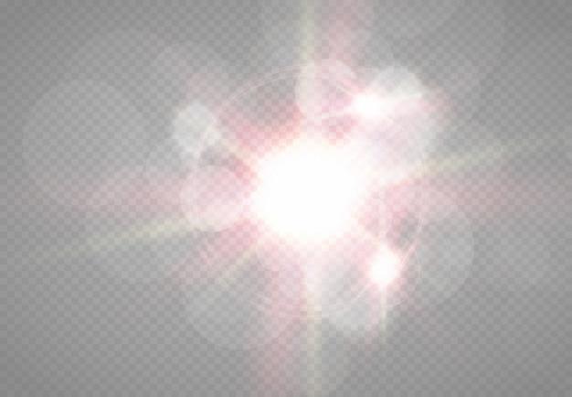 透明な日光の特別なレンズフラッシュライトeffect.front太陽レンズフラッシュ。輝きに照らしてぼかします。装飾の要素。水平方向の恒星の光線とサーチライト。