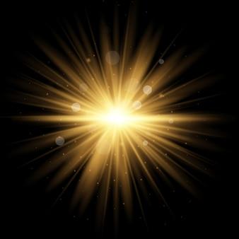 透明な日光特殊レンズフラッシュライトeffect.front太陽レンズフラッシュ。輝きの光の中でぼかします。ライトハイライトイエローの特殊効果で、光線と魔法の輝きを放ちます。太陽