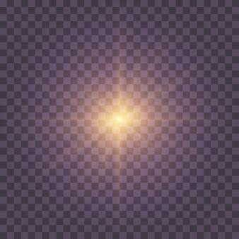 透明な日光特殊レンズフラッシュライトeffect.front太陽レンズフラッシュ。輝きの光の中でぼかします。光と魔法の輝きを放つライトハイライトイエローの特殊効果。太陽