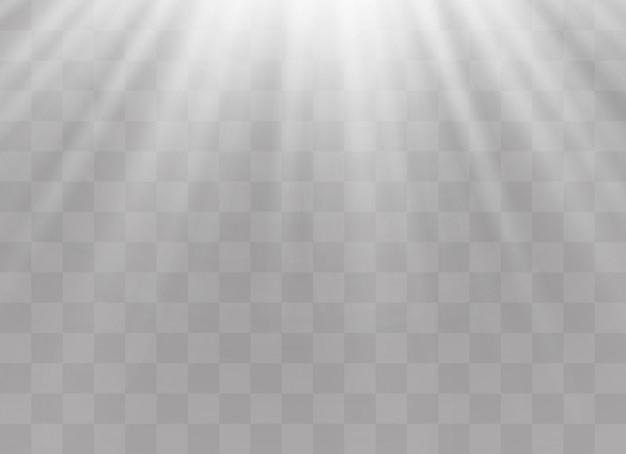 透明な日光特殊レンズフラッシュライトeffect.front太陽レンズフラッシュ。輝きの光の中でぼかします。装飾の白い要素。水平恒星線とサーチライト。