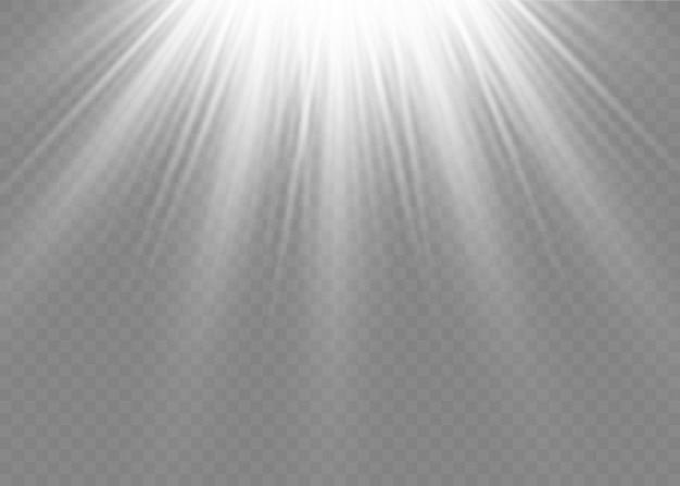 투명한 햇빛 특수 렌즈 플래시 조명 효과. 전면 태양 렌즈 플래시. 빛의 빛으로 흐릿하게. 장식의 흰색 요소. 수평 항성 광선 및 탐조등.
