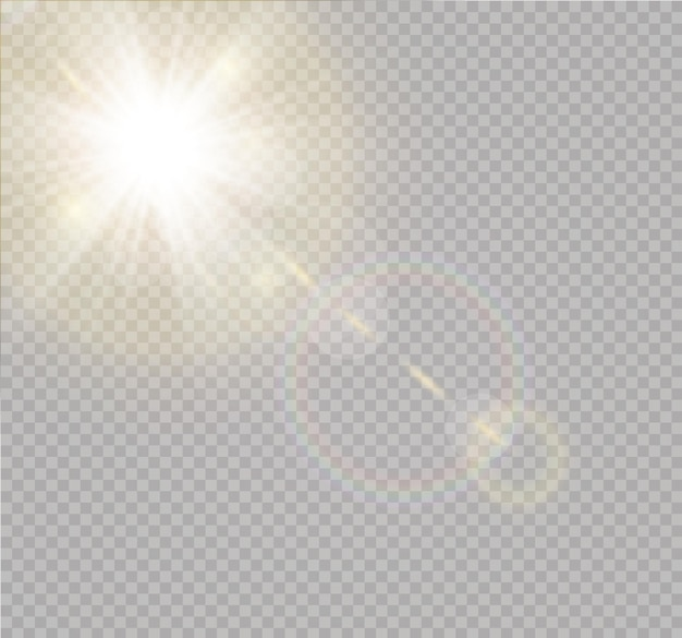 Transparent sunlight special lens flash light effect.front sun lens flash.  blur in the light of radiance. element of decor. horizontal stellar rays and searchlight.