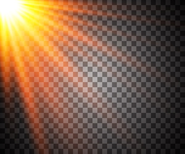 透明日光特殊レンズフラッシュライトエフェクト。フロントサンレンズフラッシュ。