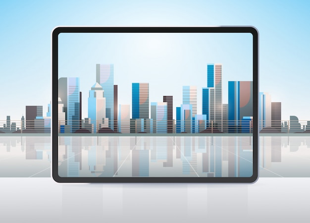 Transparent tablet computer screen cityscape wall realistic gadgets and devices concept
