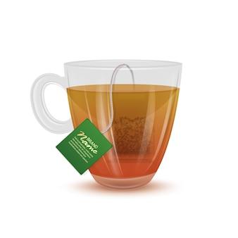 Transparent tea cup with tea bag