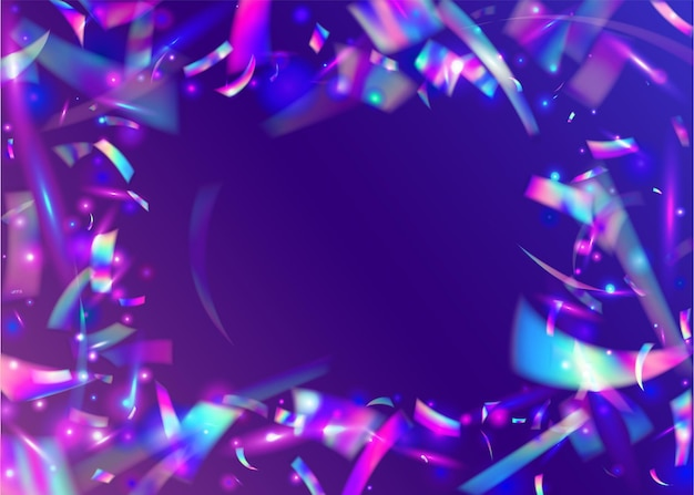 투명 틴셀. 금속 축 하 템플릿입니다. 빛나는 디자인. 무지개 효과. 홀리데이 아트. 유니콘 호일. 바이올렛 디스코 글레어. 홀로그램 배경입니다. 보라색 투명 틴셀