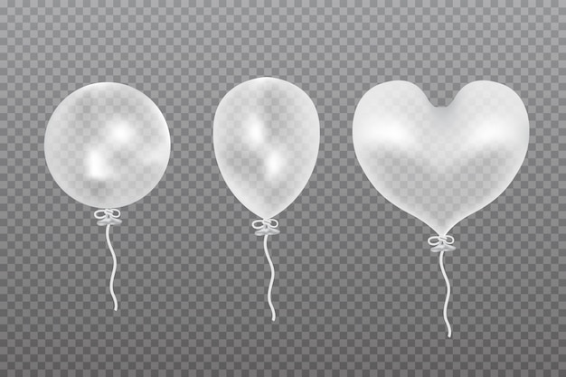 Transparent vector balloon. frosted party balloon.