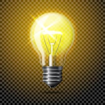 Прозрачный вектор реалистичные светящиеся лампочки на клетчатом фоне