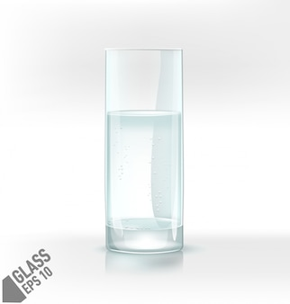 Transparent  water glass with fizz on light background.
