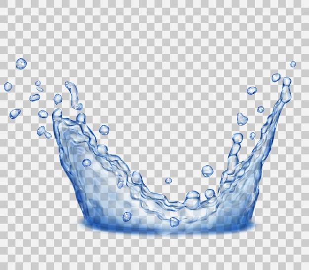 透明な背景に分離された青い色の透明な水のしぶき。水に落ちることからスプレーを散布します。水のしぶきからの王冠。ベクターファイルのみの透明度