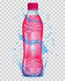 赤い液体が入った透明なペットボトルの周りに、透明な水が青い色で飛び散ります。赤いジュースで満たされた赤いキャップ付きのボトル。ベクターファイルのみの透明度