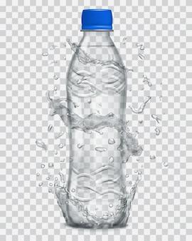 ミネラルウォーターが入った灰色の透明なペットボトルの周りに、透明な水が灰色で飛び散ります。ミネラルウォーターで満たされた青いキャップのボトル。ベクターファイルのみの透明度