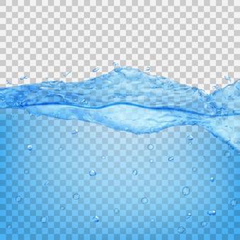 투명한 배경에 격리된 밝은 파란색 색상의 방울과 거품이 있는 투명한 물결. 벡터 파일의 투명도