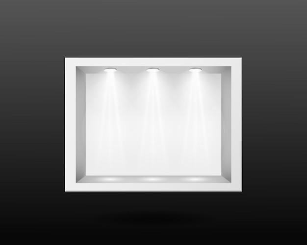유리 및 조명 템플릿이 있는 투명한 흰색 컨테이너