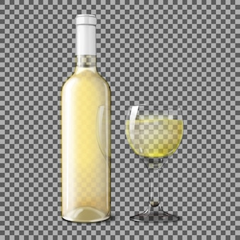 Transparent white realistic bottle for white wine with glass of wine