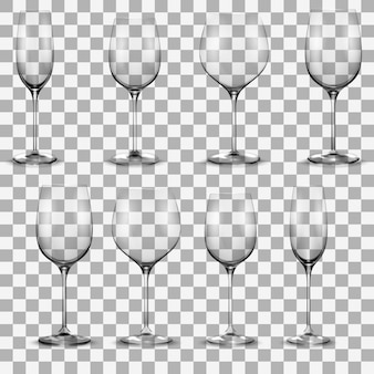 Transparent wine glass set. wine glasses set